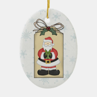 Santa with Present Gift Tag Ornament