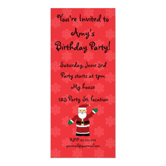 Santa with red snowflakes pattern 4x9.25 paper invitation card