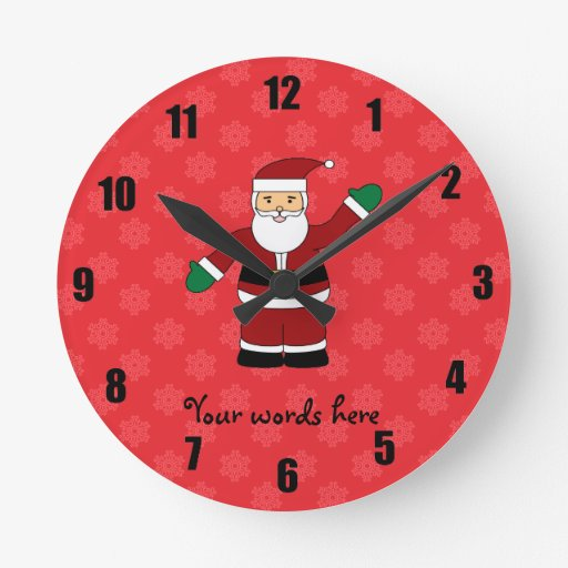 Santa with red snowflakes pattern round wall clocks