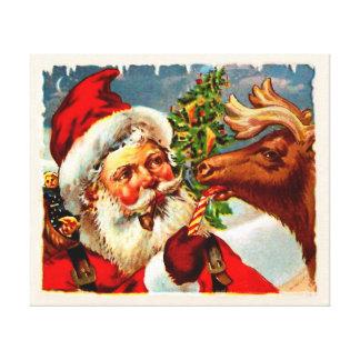 Santa with Reindeer Canvas Print