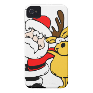 Santa with Reindeer iPhone 4 Covers