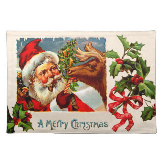 Santa with Reindeer Cloth Placemat