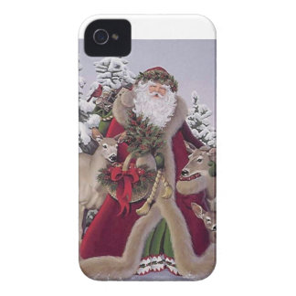 Santa with Reindeer iPhone 4 Case-Mate Case
