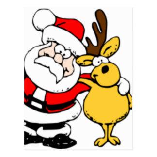 Santa with Reindeer Postcard