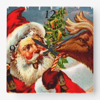Santa with Reindeer Square Wall Clock