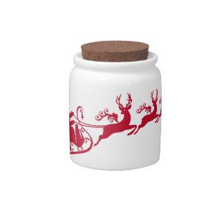 Santa with sleigh and reindeer,  Christmas design Candy Jar