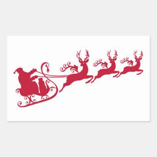 Santa with sleigh and reindeer,  Christmas design Rectangular Sticker