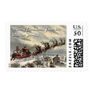 Santa with Sleigh (customizable) Postage