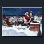 "Santa with sleigh full of books, fine art painting postcard<br><div class=""desc"">Santa with sleigh full of books,  fine art painting by N.C. Weyeth</div>"