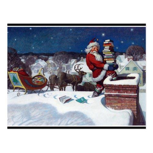 Santa with sleigh full of books fine art painting postcard
