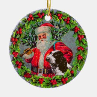Santa with Springer Spaniel Ornament