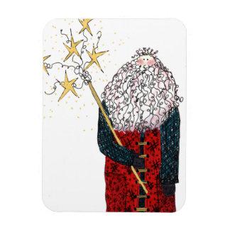 Santa with Stars Rectangular Photo Magnet