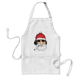 Santa With Sunglasses Cigarette and Headphones Adult Apron