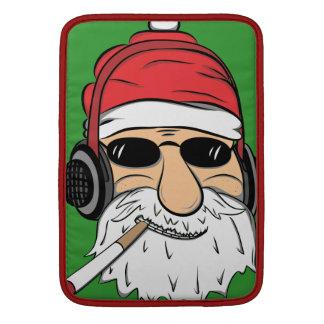 Santa With Sunglasses Cigarette and Headphones MacBook Sleeves