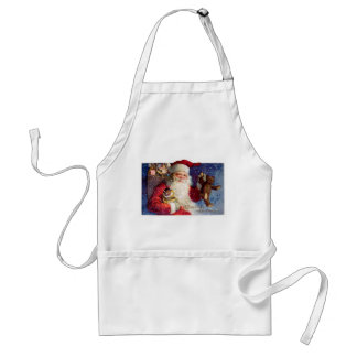 Santa with Teddy and Krampus in a Box Adult Apron