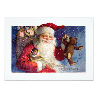 Santa with Teddy and Krampus in a Box Card