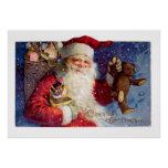 Santa with Teddy and Krampus in a Box Print