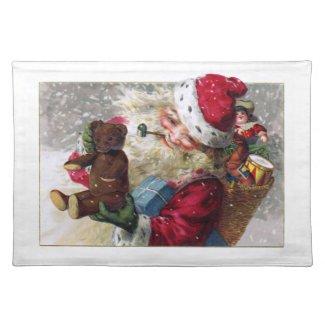 Santa with Teddy and Toys