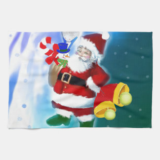 Santa with tennis racquet and bells hand towel