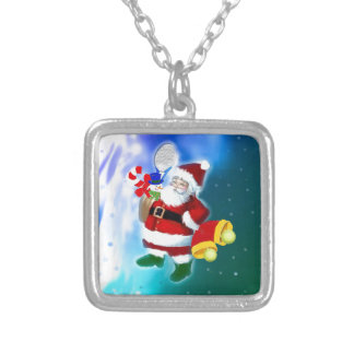 Santa with tennis racquet and bells silver plated necklace