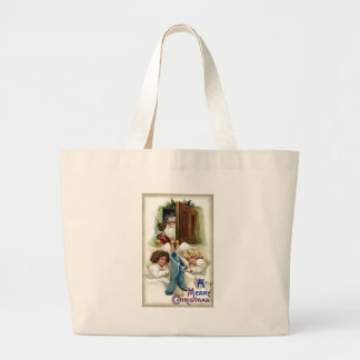 Santa with Toys for Sleeping Girls Vintage Xmas Bags