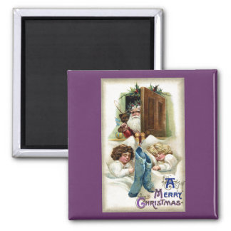 Santa with Toys for Sleeping Girls Vintage Xmas Magnet