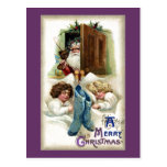 Santa with Toys for Sleeping Girls Vintage Xmas Post Card