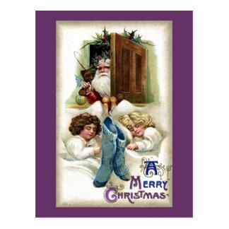 Santa with Toys for Sleeping Girls Vintage Xmas Postcard