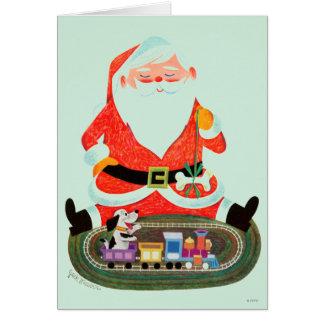 Santa with Train Greeting Card