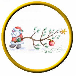 Santa With Tree Ornament