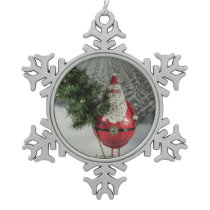 Santa With Tree Snowflake Pewter Christmas Ornament
