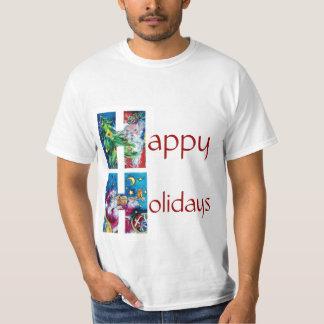 SANTA  WITH VIOLIN  AND CHRISTMAS TREE H MONOGRAM T-Shirt
