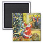 Santa with Yarn Balls: Christmas Magnet