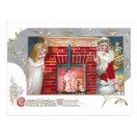 Santa, Woman & Fireplace Vintage Christmas Postcards
