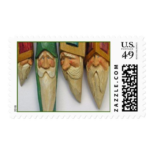 Santa Woodcarvings (No. 0701) Postage Stamp
