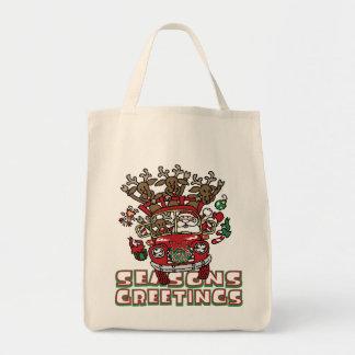 Santa Woody and His Reindeer Christmas Cartoon Grocery Tote Bag