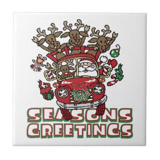 Santa Woody and His Reindeer Christmas Cartoon Ceramic Tile