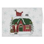 Santa Workshop Christmas Scene Greeting Card