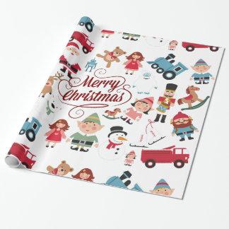 Santa Workshop Toys Elves Christmas Wrapping Paper