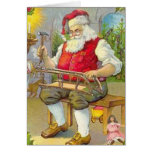 Santa Workshop Vintage Christmas Card