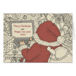 Santa Writing Holiday Wishes on Laptop Greeting Greeting Card