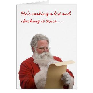 Santa writing Naughty & Nice List Card