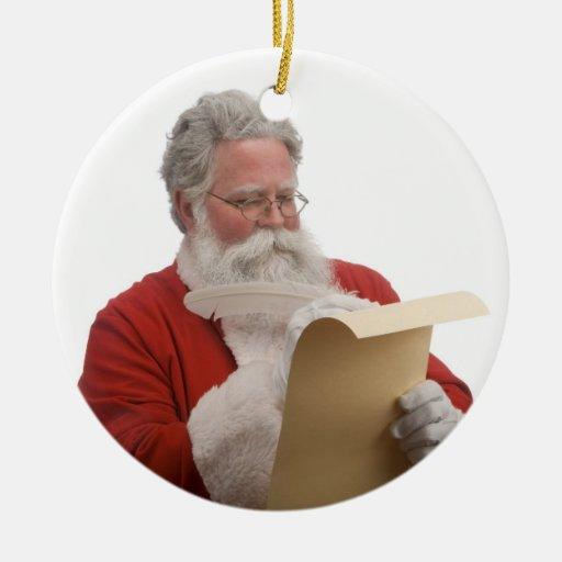Santa writing Naughty & Nice List Ceramic Ornament