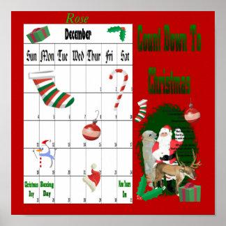 Santa y amigos 1 cuenta descendiente al navidad póster