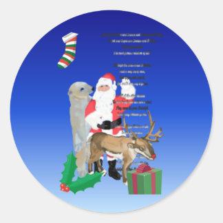 Santa y amigos 2 etiqueta redonda