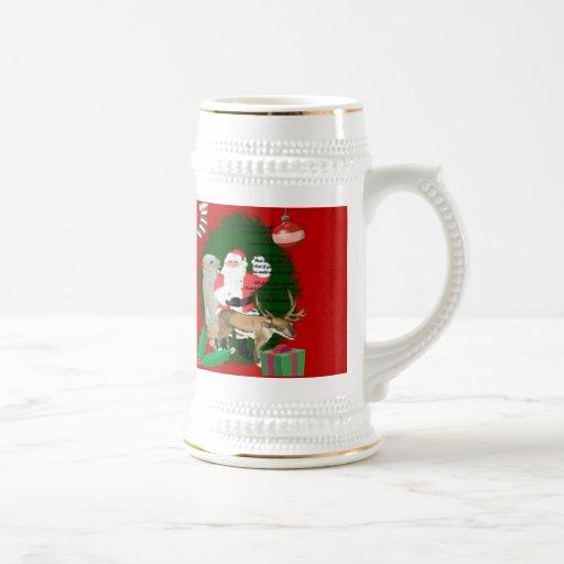 Santa y amigos jarra de cerveza