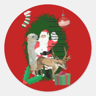 Santa y amigos etiqueta redonda