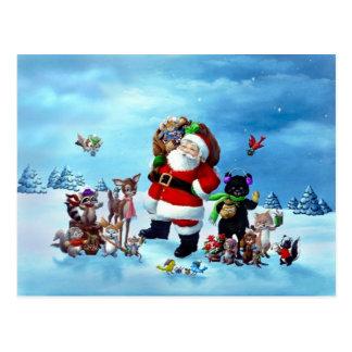 Santa y amigos postal