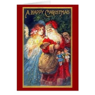 Santa y ángel - tarjeta de Navidad