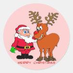 Santa y camisetas y regalos de Rudolph Etiquetas Redondas